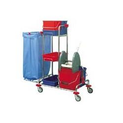 Chariot ménage-lavage acier chromé 2x12L