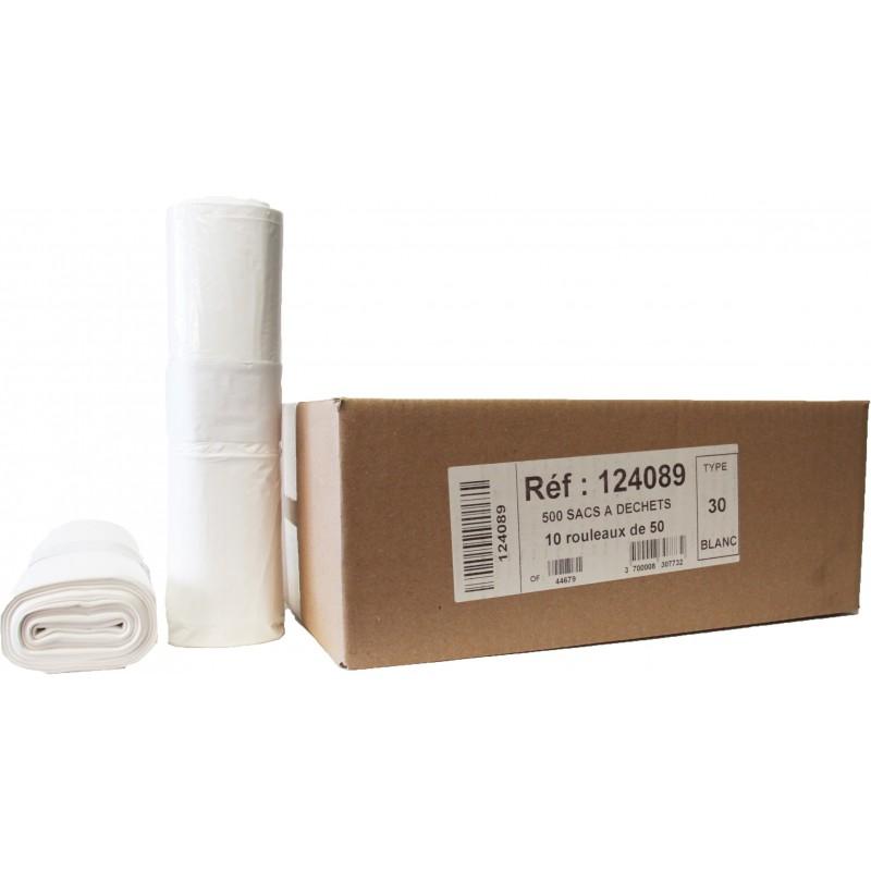 SACS POUBELLES 30L BLANC (x500)