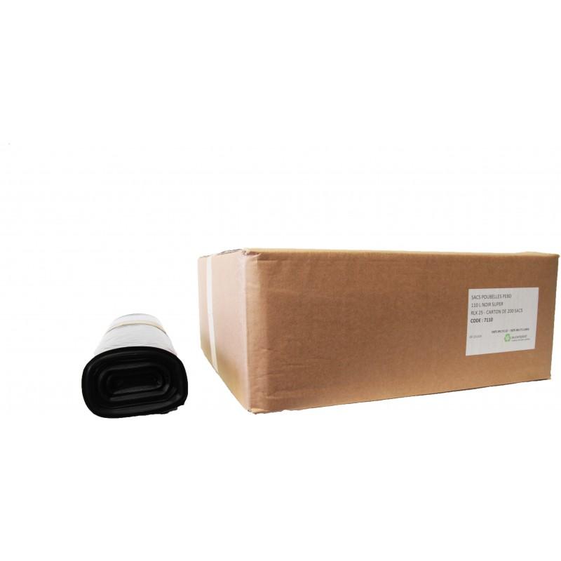 Sacs poubelles 110L noir (x200)