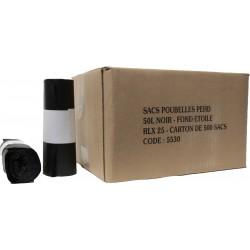 Sacs poubelles 50L noir HD 15µ (x500)