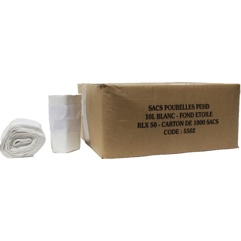 sacs poubelles 10l blanc x1000 ph06. Black Bedroom Furniture Sets. Home Design Ideas