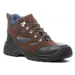 Chaussures de sécurité cuir-velours bleu-marron haute copper