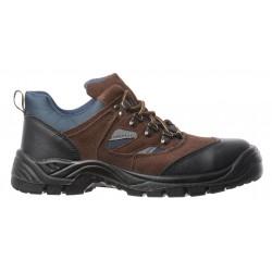 Chaussures de sécurité cuir-velours bleu-marron basse copper