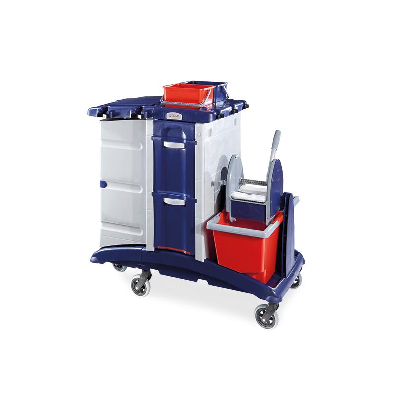 Chariot Plastique ménage / lavage caréné 2 x 15l + 2 tiroirs