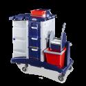 Chariot Plastique ménage / lavage caréné 2 x 15l + 3 tiroirs