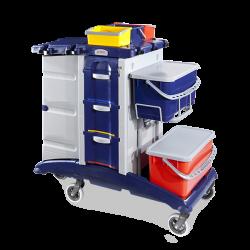 Chariot Plastique lavage/ désinfection caréné 2 x 15l + 2 tiroirs