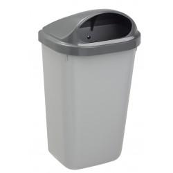 Corbeille extérieur plastique Xerios corps gris-couvercle gris 50L