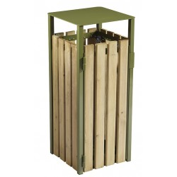 Corbeille extérieur bois-métal carré vert olive 110L