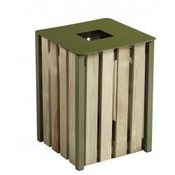 Corbeille extérieur carré bois vert olive eden 50L