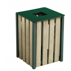 Corbeille extérieur bois vert mousse 50L
