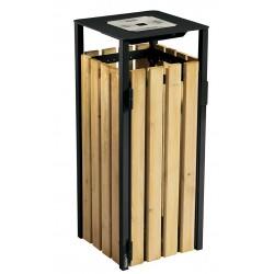 Corbeille extérieur + cendrier bois gris manganèse 110L