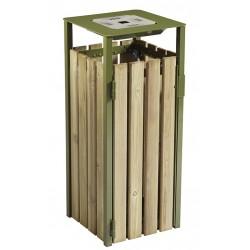 Corbeille extérieur + cendrier bois vert olive 110L