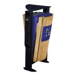 Corbeille tri sélectif extérieur Arkea bois+cendrier gris/bleu 2x60L
