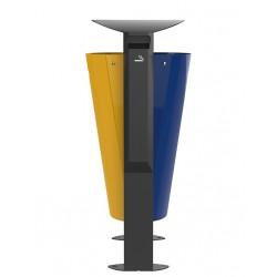 Corbeille tri sélectif arkea metal+cendrier bleu/jaune 2x60L