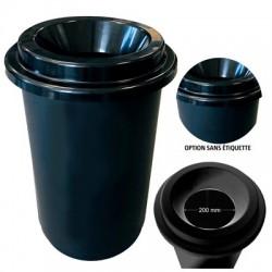 Poubelle ronde sans contact noire 50L