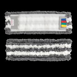 Frange de lavage microfibre grise et blanche à languettes 40cm