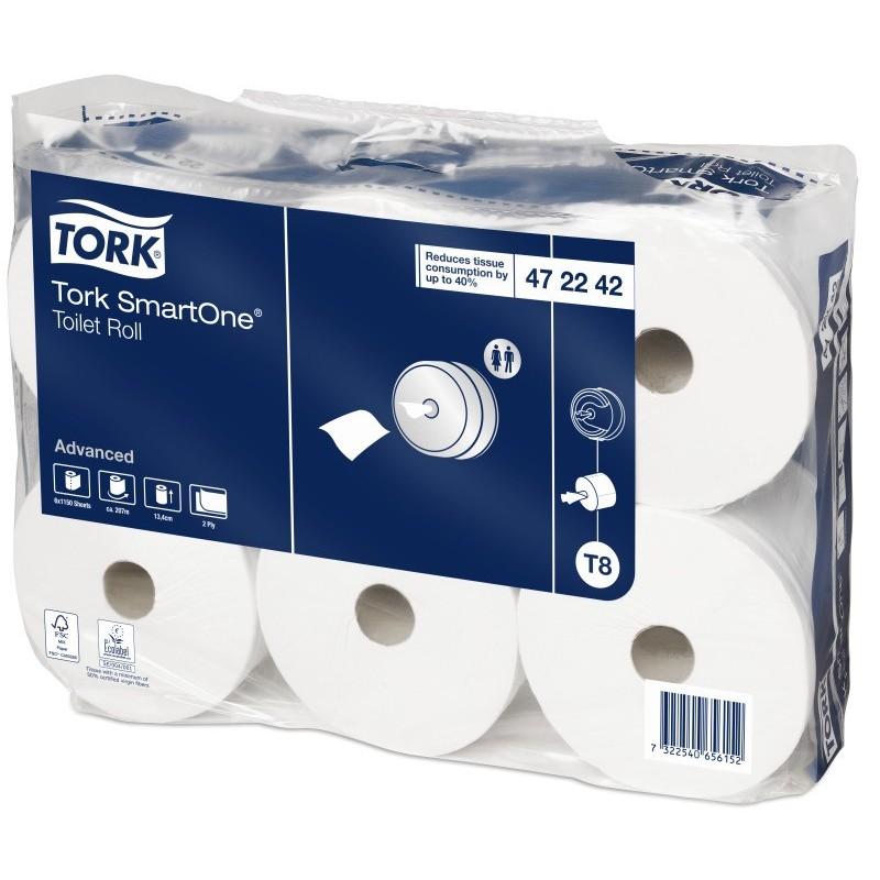 Papier hygiénique Tork SmartOne rouleau blanc DC 2 plis (x6)