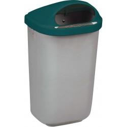 Corbeille extérieur plastique Xerios corps gris-couvercle vert 50L