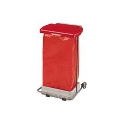 Poubelle HACCP mobile à pédale Collecpro gris-rouge 110L
