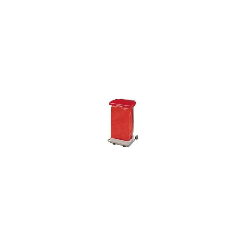 POUBELLE HACCP MOBILE A PEDALE COLLECPRO GRIS/ROUGE 110L