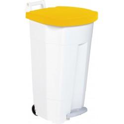 Poubelle HACCP mobile à pédale plastique boogy blanc-jaune 90L