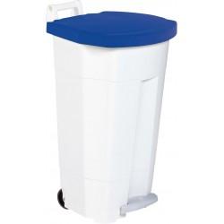 Poubelle HACCP mobile à pédale plastique boogy blanc-bleu 90L