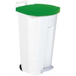 Poubelle HACCP mobile à pédale plastique boogy blanc-vert 90L