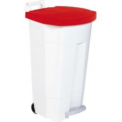 Poubelle HACCP mobile à pédale plastique boogy blanc-rouge 90L