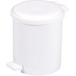 Poubelle ronde à pédale plastique blanc basic 6L