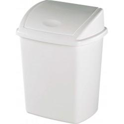 Poubelle couvercle basculant plastique blanc basic 10L