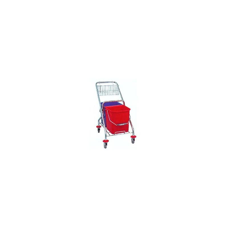Chariot lavage acier chromé pliant 2x15L