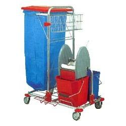 Chariot ménage-lavage acier chromé 2x12L + presse