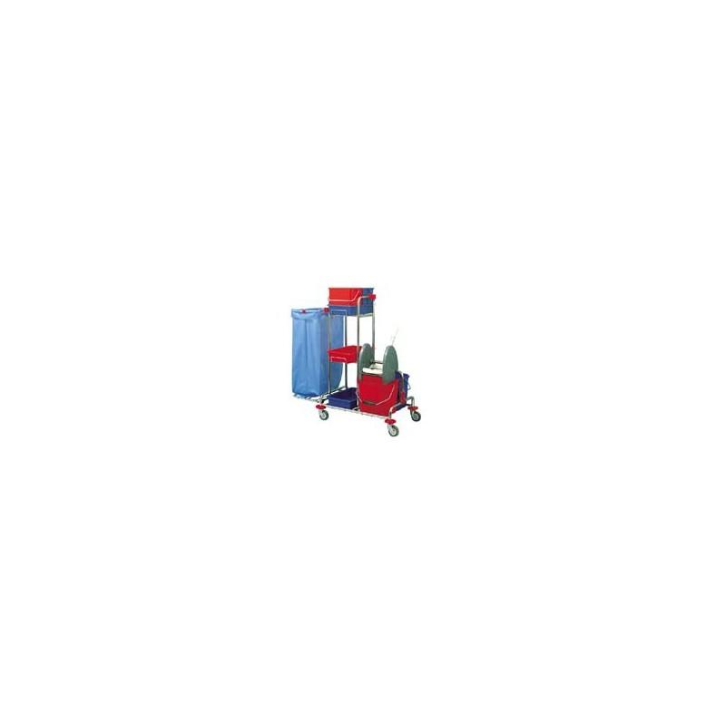 CHARIOT MENAGE / LAVAGE ACIER CHROME 2 x 15L