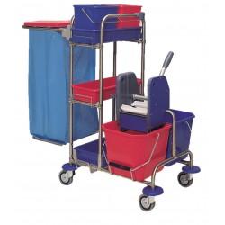 Chariot ménage-lavage inox 2x15L